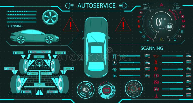 Car service. Diagnostic stand wheel alignment. Car digital car dashboard. Graphic display. illustration. Car service. Diagnostic stand wheel alignment. Car stock illustration