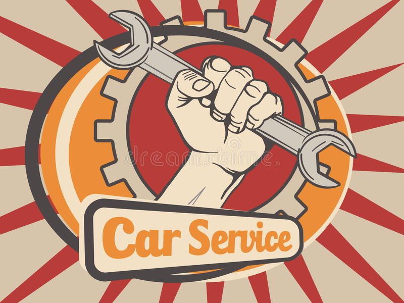 Car service emblem vector illustration stock illustration