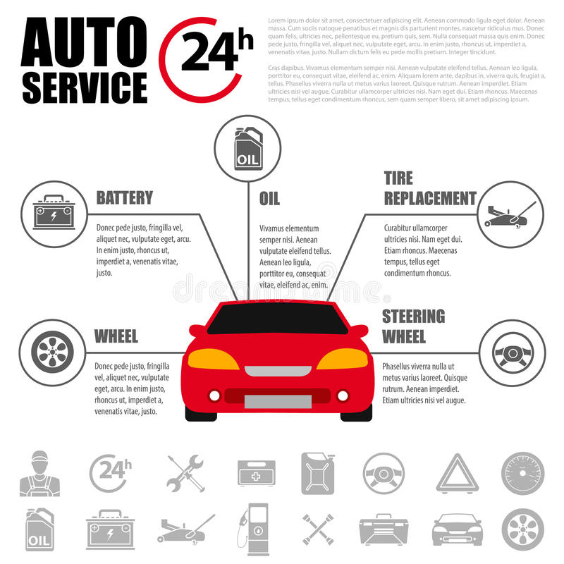 Car service flat icon set. Auto mechanic service flat icons of maintenance car repair and working. Auto mechanic design concept se stock illustration