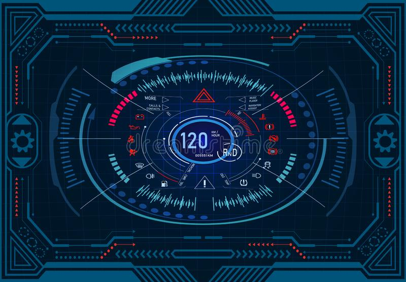 Car service. Futuristic dashboard design on a graphic monitor in frame. Speedometer, tachometer. GUI HUD Illustration vector illustration
