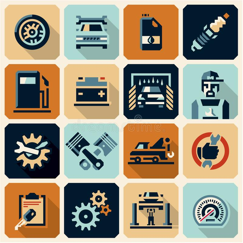 Car service icons royalty free illustration