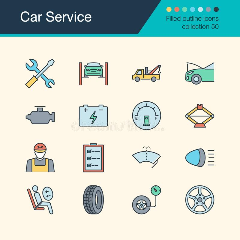 Car Service icons. Filled outline design collection 50. For pres vector illustration