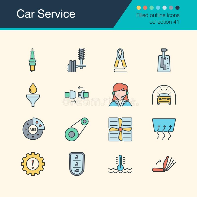 Car Service icons. Filled outline design collection 51. For pres vector illustration