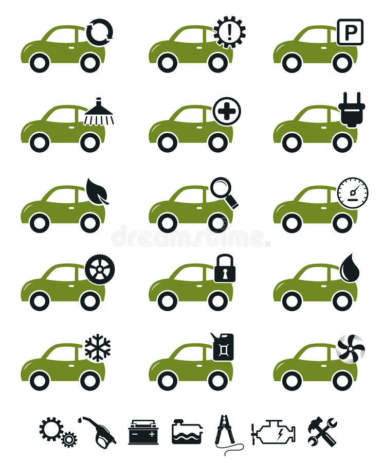 Download Car Service Icons Green Set Stock Vector - Image: 26644834