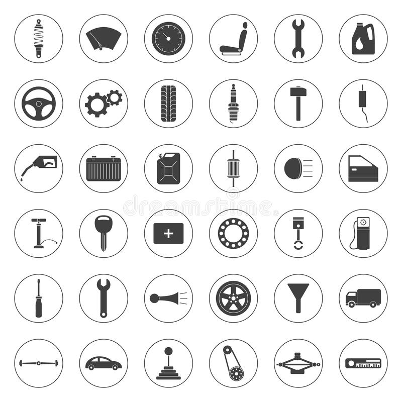 Car service icons set, car parts set royalty free illustration