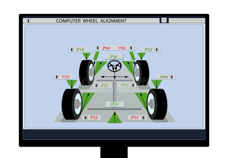 Car service. An image of a car schematic with sensors on wheels on a computer monitor. Wheel alignment. illustration. Car service. An image of a car schematic royalty free illustration
