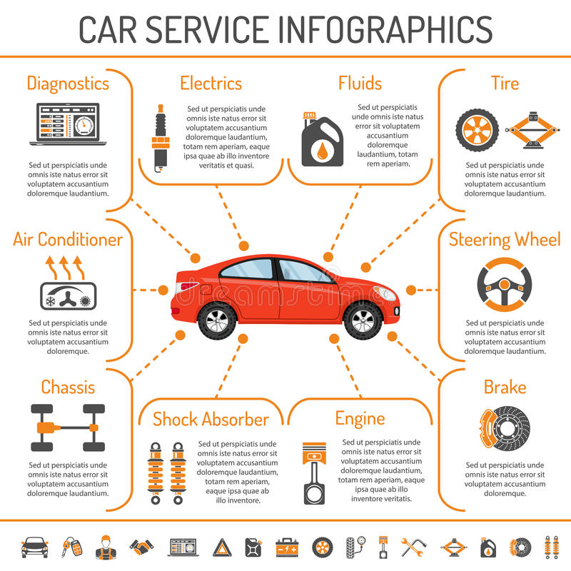 Car Service Infographics royalty free illustration