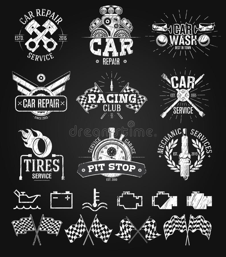 Car Service Labels, Emblems And Logos Chalk Drawing Stock Vector ...