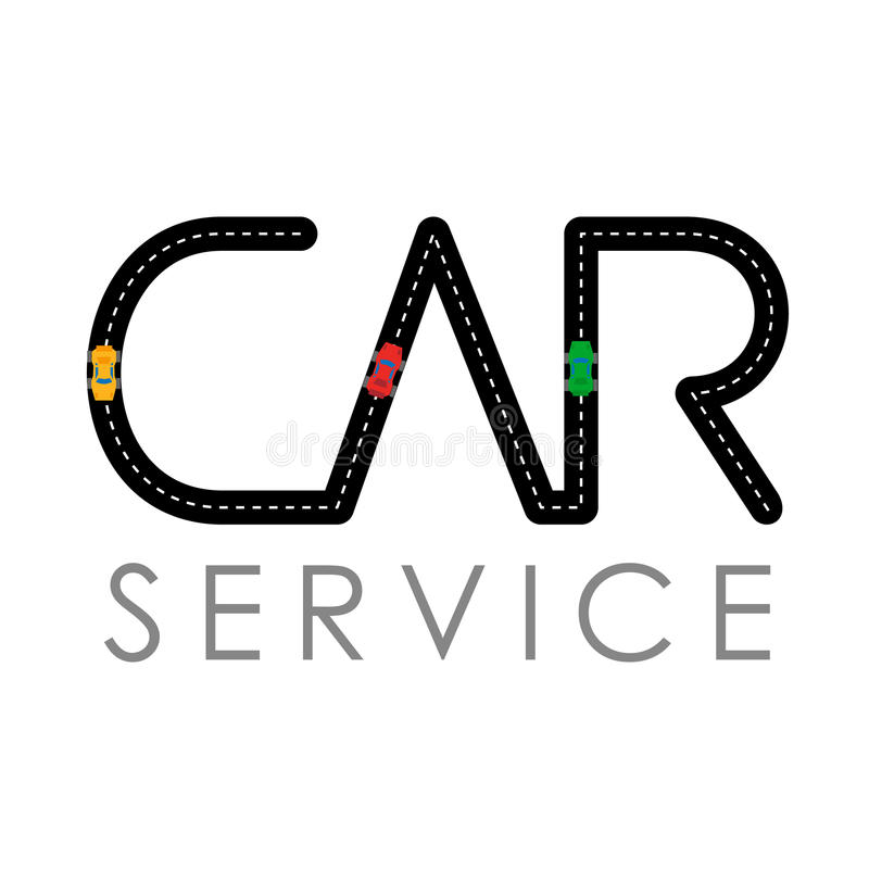 car service logo template asphalt road with small vehicles stock rh dreamstime com