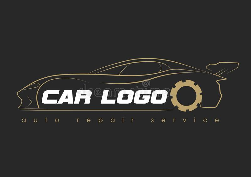 Car service logo template design icon or label. Automotive car repairservice and restoration template. Logo with car royalty free illustration