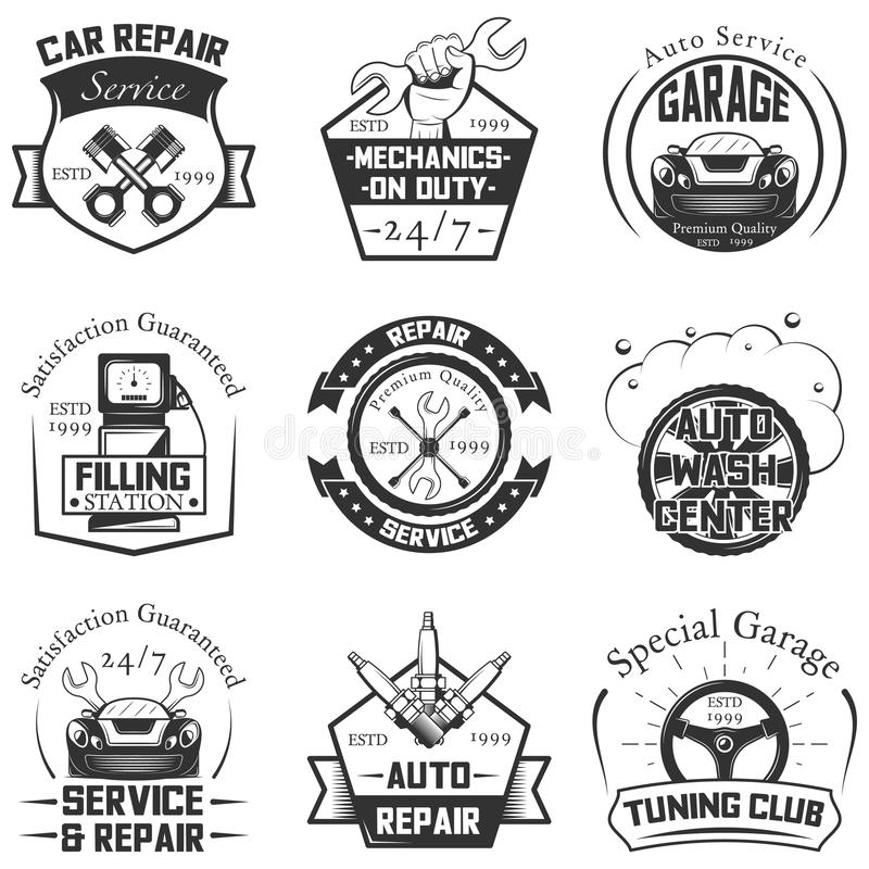 Car service logos vintage vector labels, badges and icons set stock illustration