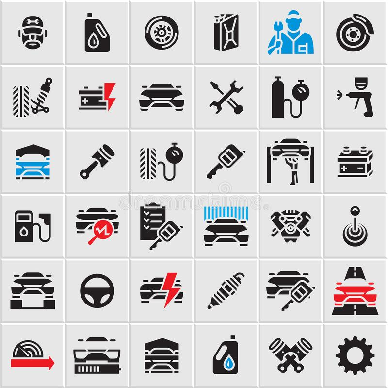 Car service maintenance icons set, car vector icons, auto parts, car repair vector illustration