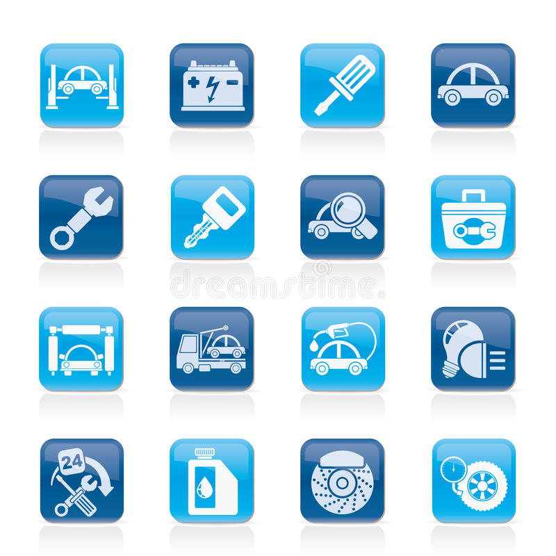 Car service maintenance icons stock illustration