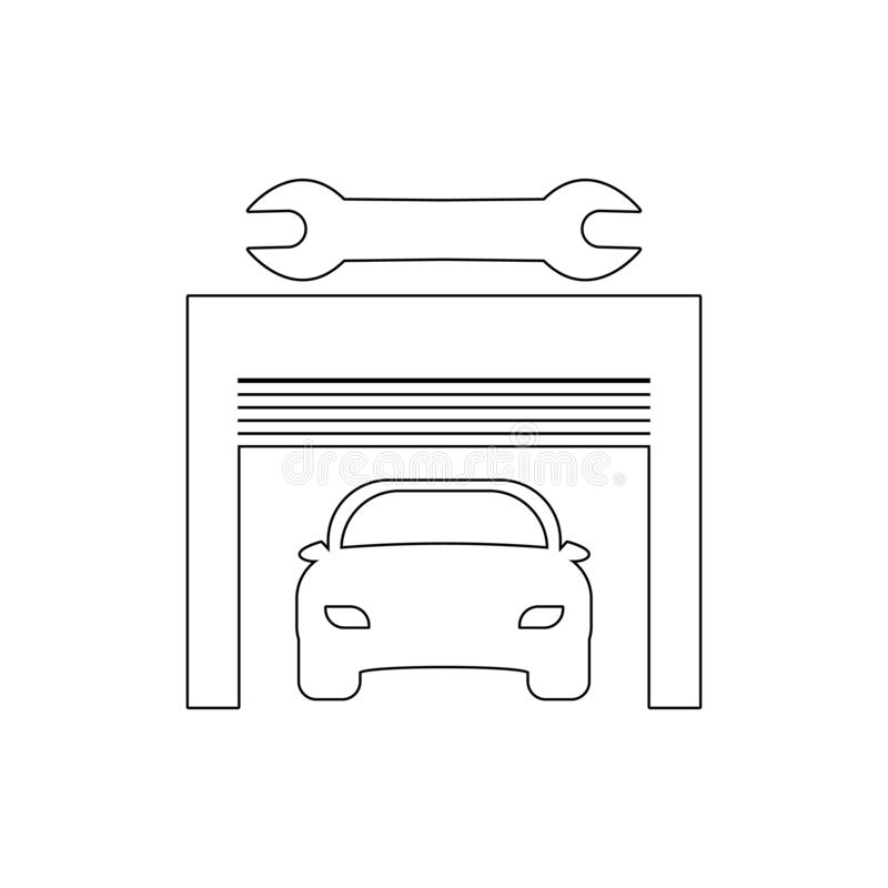 Car service outline icon. Elements of car repair illustration icon. Signs and symbols can be used for web, logo, mobile app, UI,. UX on white background royalty free illustration