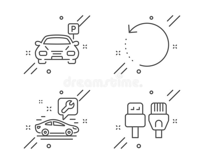 Car service, Parking and Recovery data icons set. Computer cables sign. Repair service, Car park, Backup info. Vector. Car service, Parking and Recovery data stock illustration