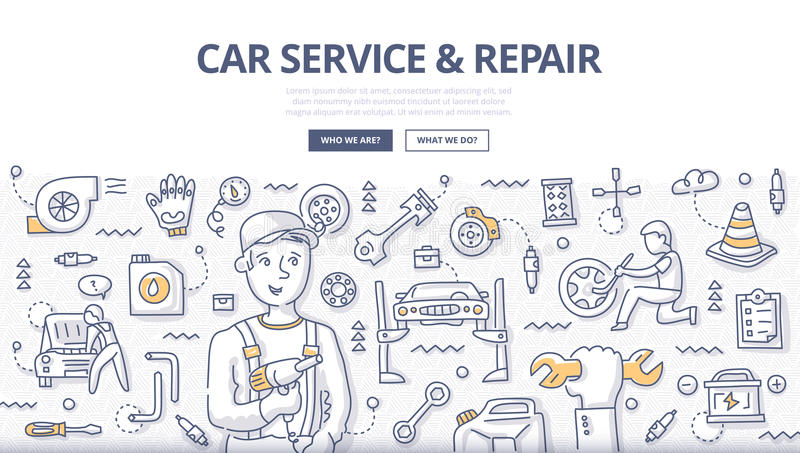 Car Service & Repair Doodle Concept royalty free illustration