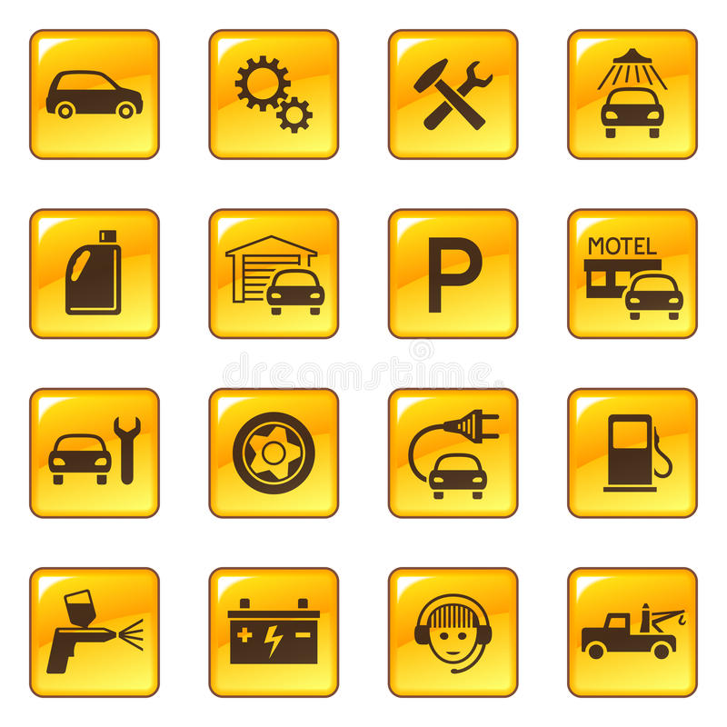 Free Car Service & Repair Icons Royalty Free Stock Photo - 11986065