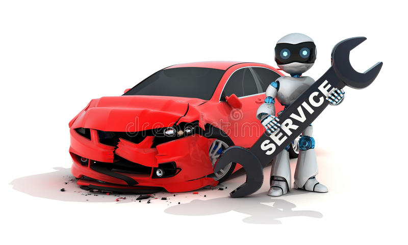 Car and service robot. (done in 3d rendering stock illustration