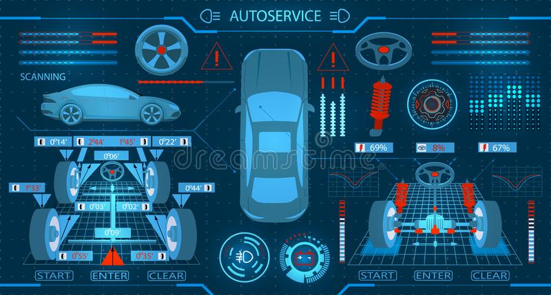 Car service. Scanning. Diagnostic alignment of the wheels. Check of shock-absorbers and the steering mechanism. Graphic. Display. Vector illustration royalty free illustration