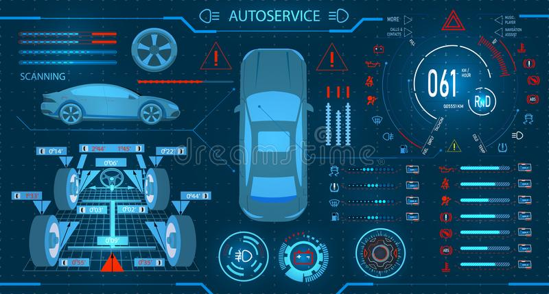 Car service. Scanning. Diagnostic alignment of the wheels. Car digital car dashboard. Graphic display. illustration. Car service. Scanning. Diagnostic alignment royalty free illustration