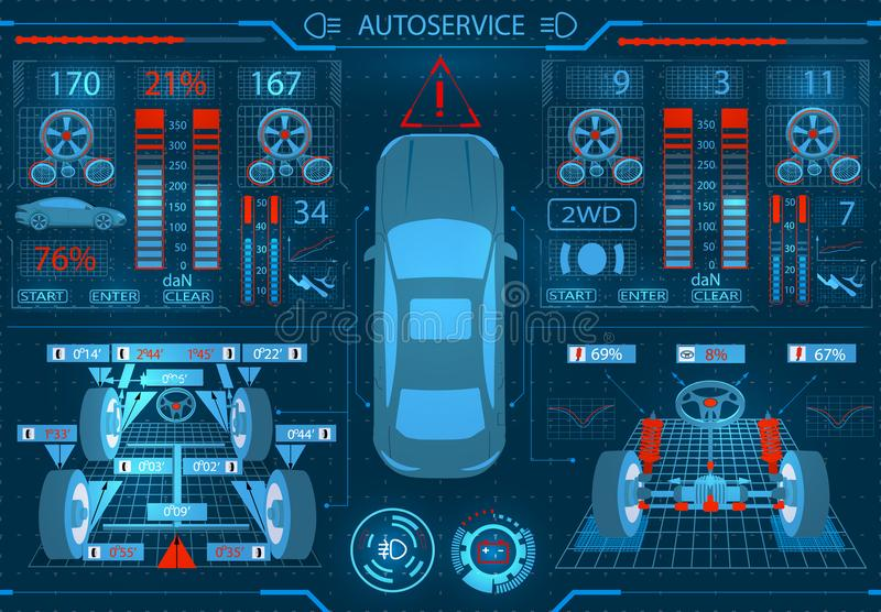 Car service. Scanning. Graphical interface. Ellipticity and alignment of the wheels. Check of shock-absorbers, brake. System and the steering mechanism. Vector stock illustration