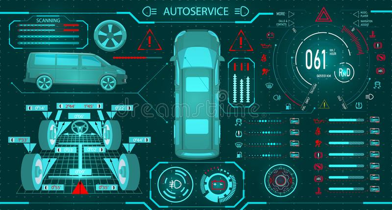 Car service. Scanning a minibus. Diagnostic alignment of the wheels. Car digital car dashboard. Graphic display. Vector illustration royalty free illustration