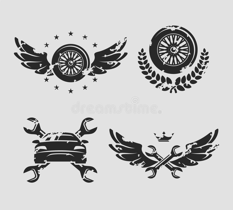 Car service set. Vector stock vector. Illustration of emblem ...