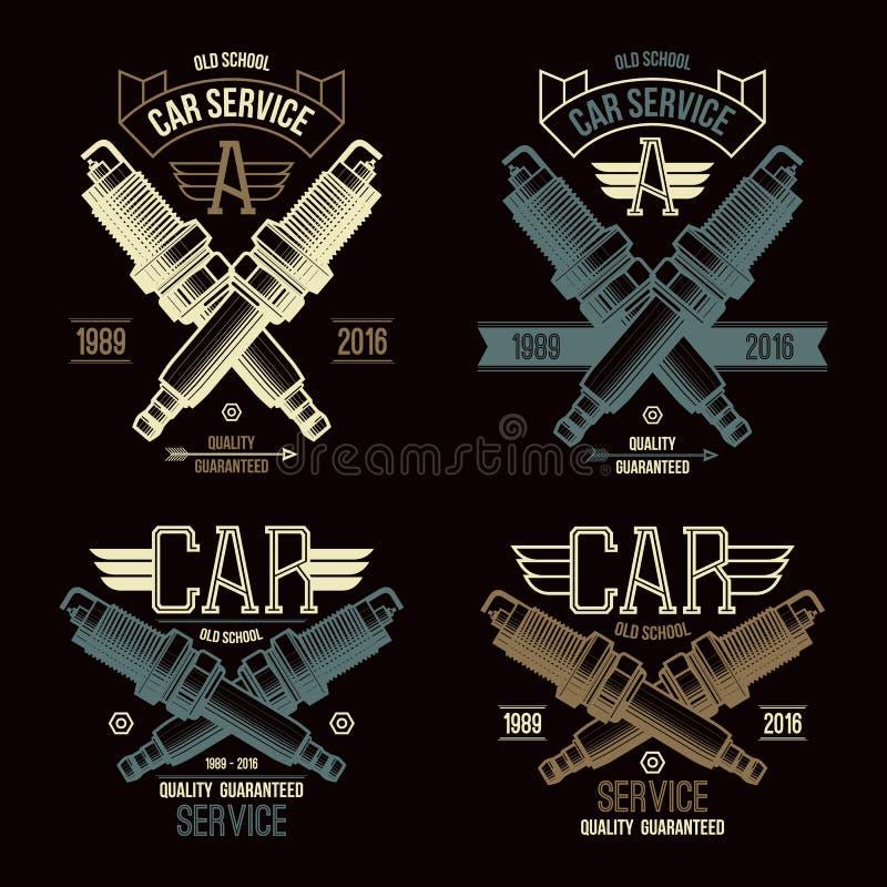 Car service spark-plug emblems royalty free illustration
