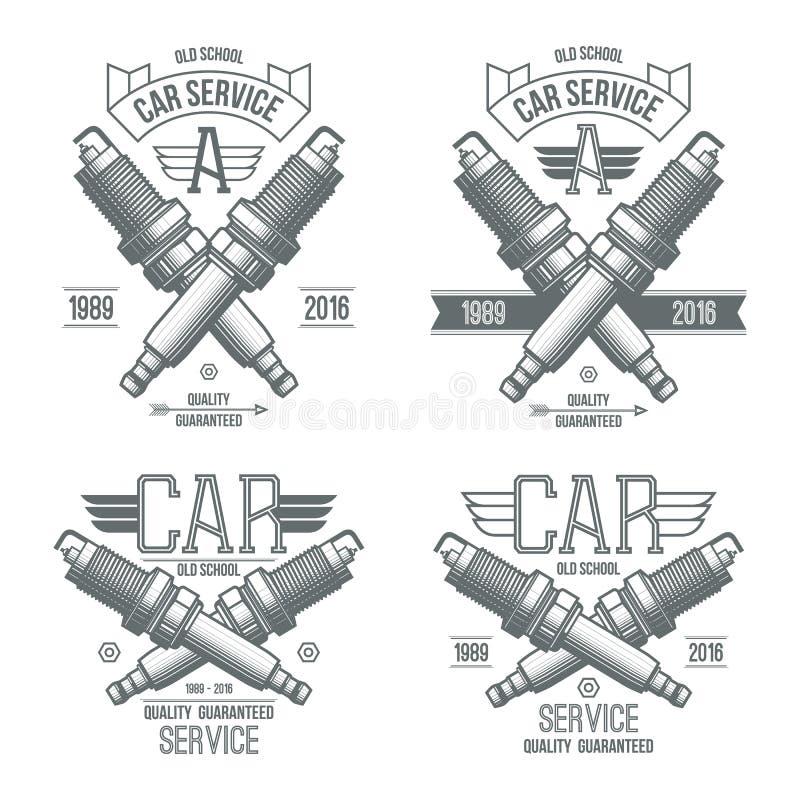 Car service spark-plug emblems stock illustration