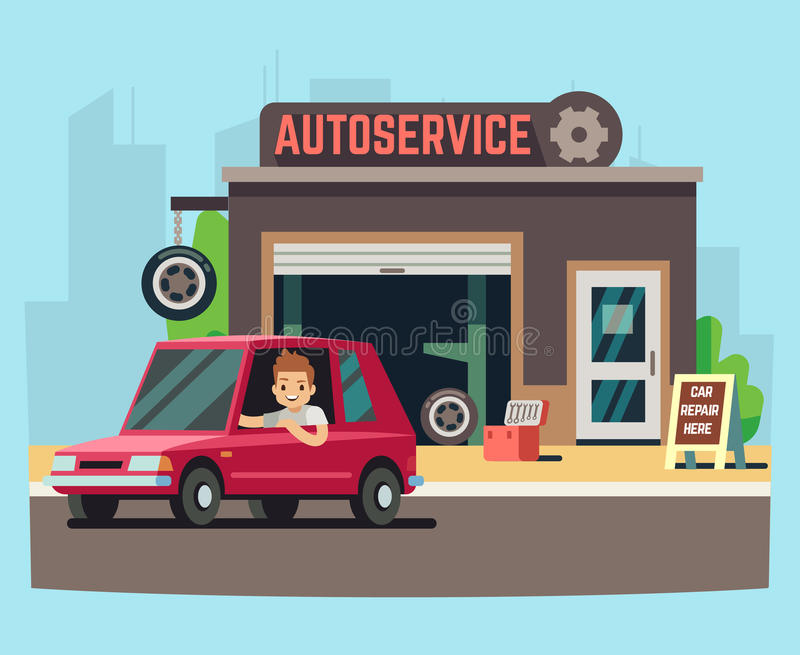 Car service station or repair garage with happy customer vector illustration. Service for repair car machine royalty free illustration