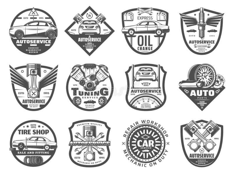 Car service, tire and engine repair icons vector illustration