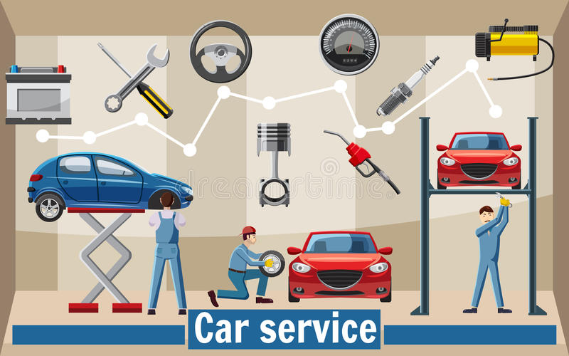 Car service tools concept, cartoon style stock illustration