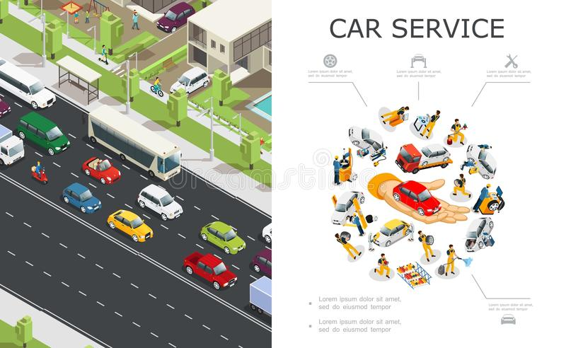 Car Service And Traffic Jam Composition. With workers repair and fix automobiles and vehicles moving on road in isometric style vector illustration vector illustration