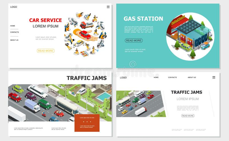 Car Service And Traffic Jam Websites. With workers repair and fix automobiles gas station vehicles moving on road gas station vector illustration royalty free illustration