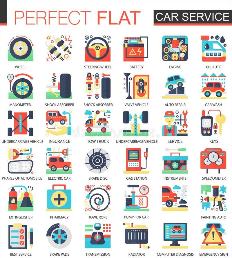 Car Service Vector Complex Flat Icon Concept Symbols For Web