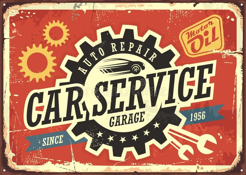 Vintage Tin Sign Automotive : Car service vintage tin sign stock vector illustration