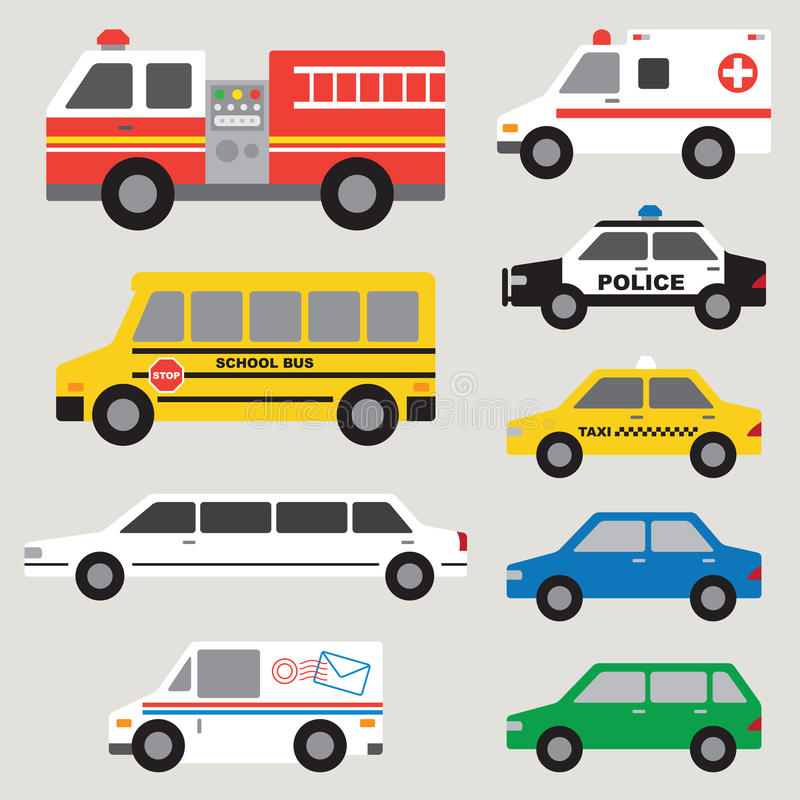 Car Set. Illustration of different types of automobiles including fire truck, ambulance, school bus, police car, taxi, postal truck, van, etc