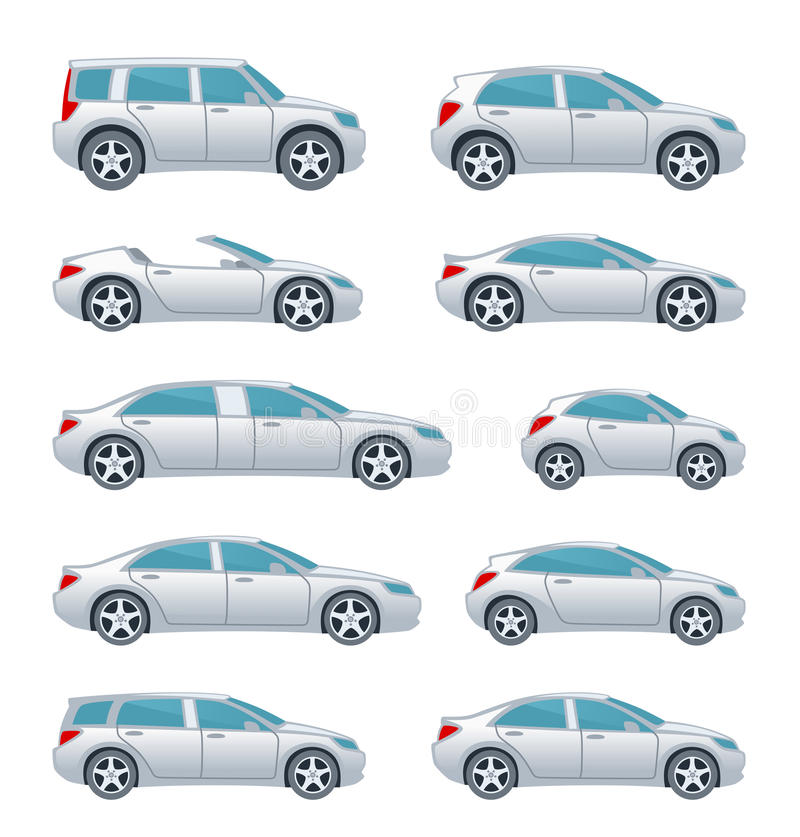 Car set. Set of various car on a white background stock illustration