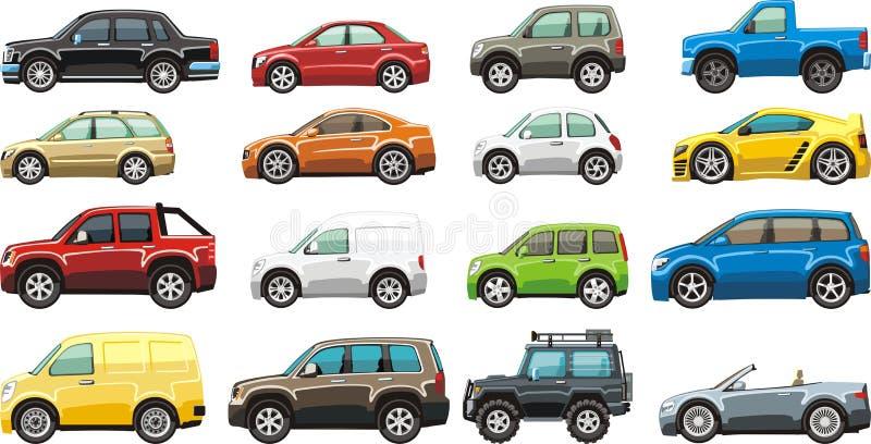 Car set. Cartoon passenger car lorry and van for illustration royalty free illustration