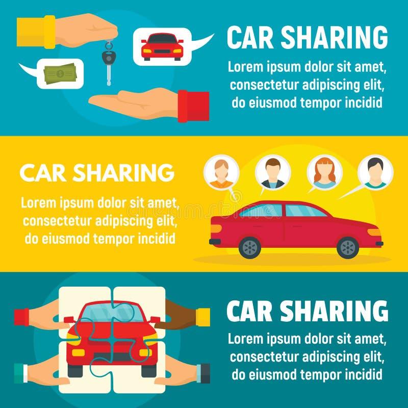 Car sharing banner set, flat style. Car sharing banner set. Flat illustration of car sharing vector banner set for web design royalty free illustration