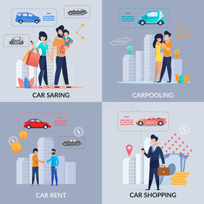 Car Sharing. Car Rent. Carpooling. Shopping. App. Car Sharing. Car Rent. Carpooling. Shopping. Booking for free. Renting an Profitable and Affordable. Pick up royalty free illustration