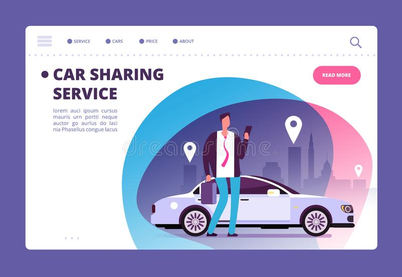 Car sharing concept. Businessman with smartphone at car on city street. Parking service website vector template royalty free illustration