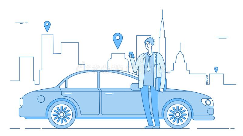 Car sharing concept. Car rental application businessman with smartphone at car on city street. Parking service line. Vector concept. Illustration of car rent stock illustration
