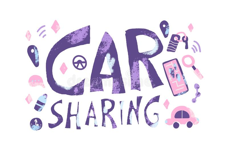 Car sharing concept. Vector illustration. Car sharing concept. Hand lettering with symbols. Vector illustration vector illustration