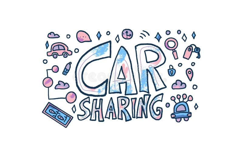 Car sharing concept. Vector illustration. Car sharing concept. Hand lettering with symbols. Vector illustration stock illustration