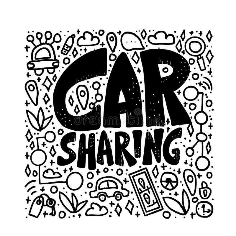Car sharing concept. Vector illustration. Car sharing concept. Hand lettering with symbols. Vector black and white design illustration vector illustration