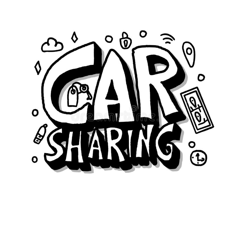 Car sharing concept. Vector illustration. Car sharing concept. Hand lettering with symbols. Vector black and white design illustration stock illustration