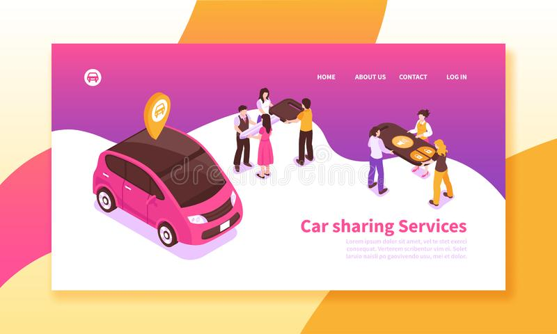 Car Sharing Horizontal Banner. Car pooling service isometric horizontal banner on colorful background with people sharing vehicle 3d vector illustration vector illustration