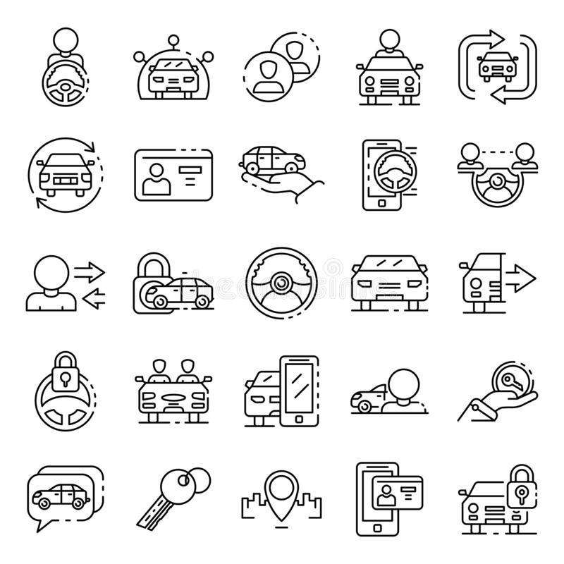 Car sharing icons set, outline style stock illustration
