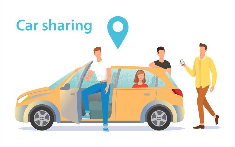 Car sharing illustration. A group of people near the car waiting for a fellow traveler vector illustration